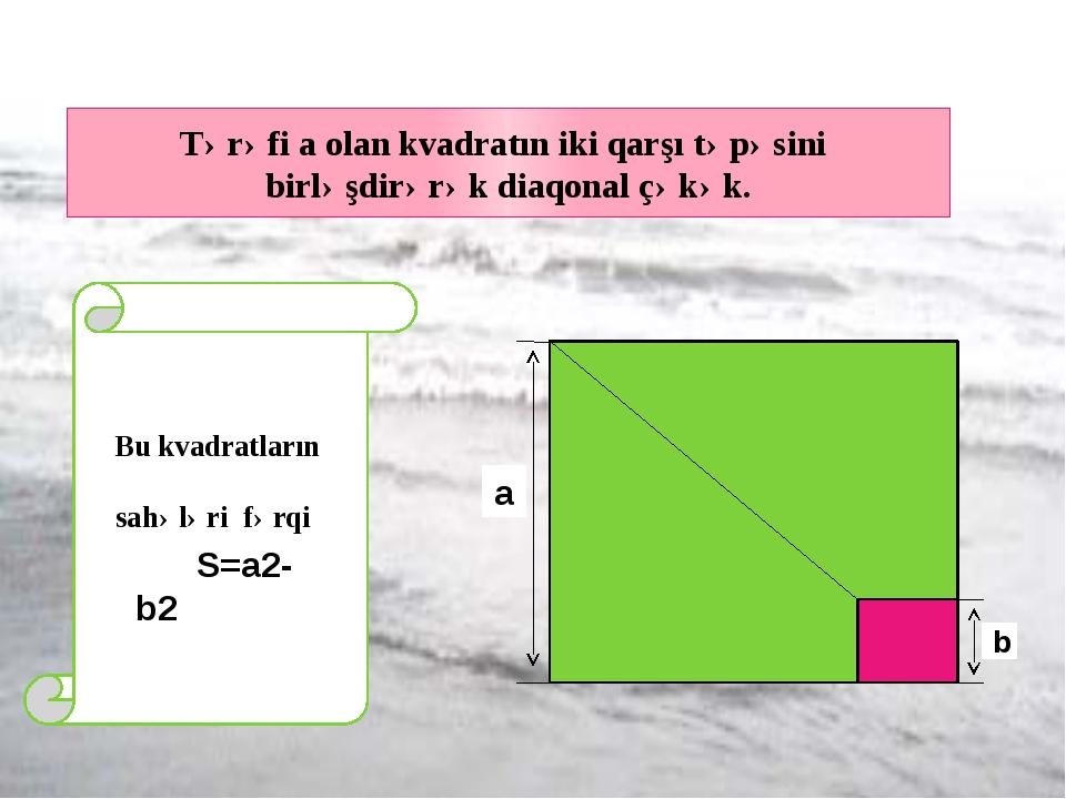 Tərəfi a olan kvadratın iki qarşı təpəsini birləşdirərək diaqonal çəkək. a b...
