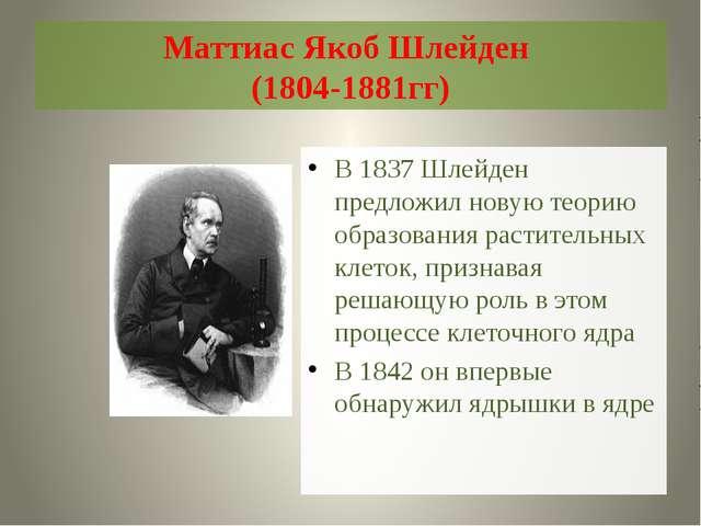 Маттиас Якоб Шлейден (1804-1881гг) В 1837 Шлейден предложил новую теорию обра...