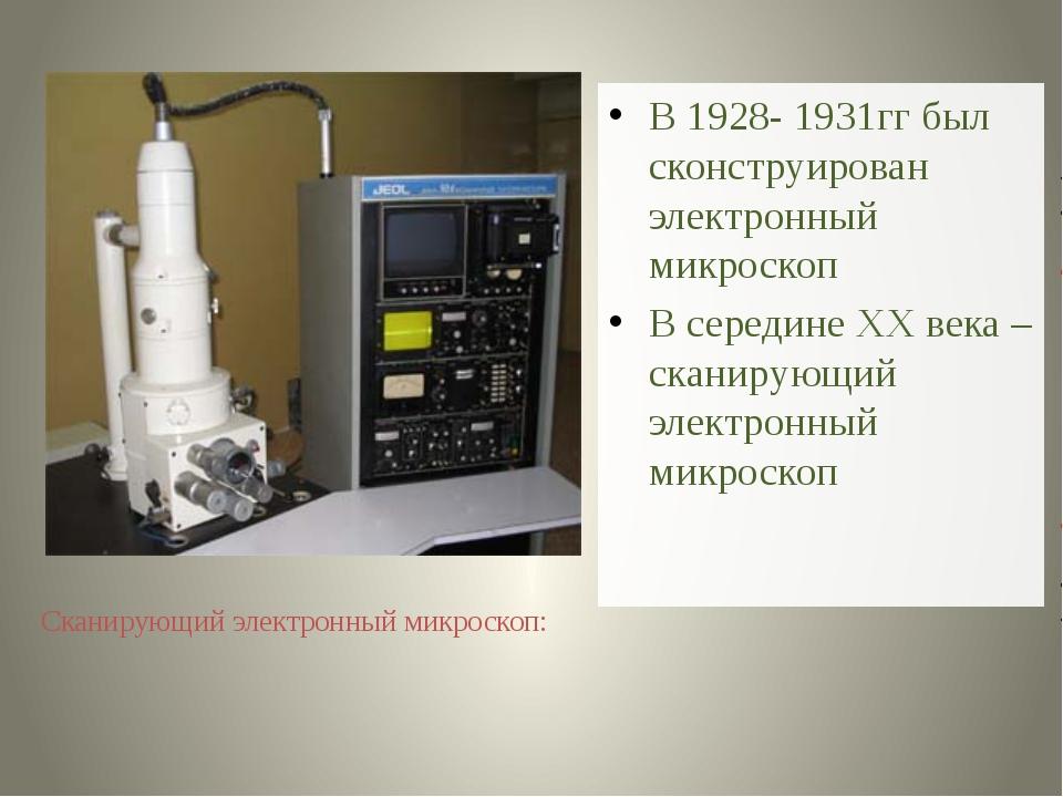 В 1928- 1931гг был сконструирован электронный микроскоп В середине ХХ века –...