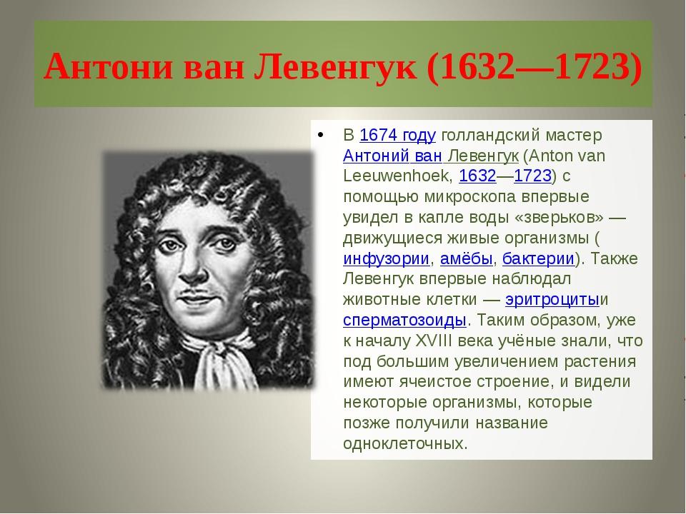 Антони ван Левенгук (1632—1723) В1674 годуголландский мастерАнтоний ван Лев...