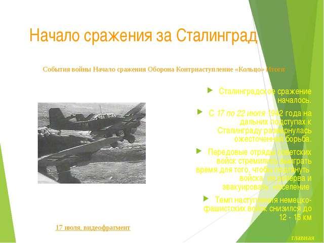 Начало сражения за Сталинград Шесть суток потребовалось 6-й полевой армии вер...
