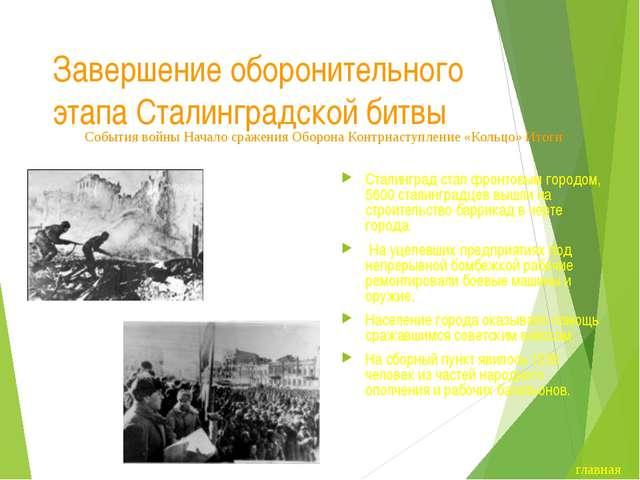 Завершение оборонительного этапа Сталинградской битвы Бои на территории Стали...