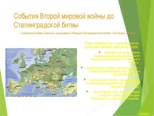 События Второй мировой войны до Сталинградской битвы План «Барбаросса» основы...