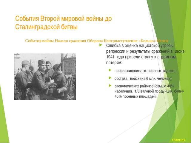 События Второй мировой войны до Сталинградской битвы Ошибка в оценке нацистск...