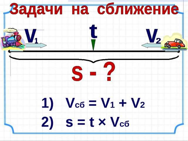 1) Vcб = V1 + V2 2) s = t × Vсб