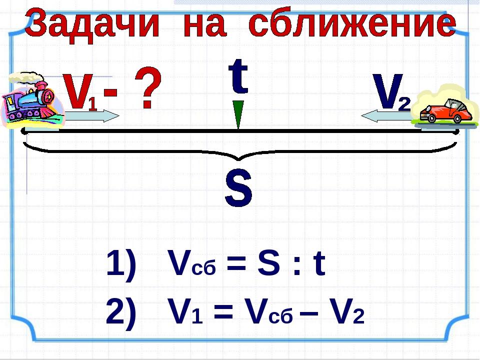 1) Vcб = S : t 2) V1 = Vсб – V2
