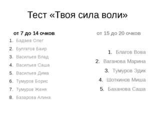 Тест «Твоя сила воли» от 7 до 14 очков Бадаев Олег Булгатов Баир Васильев Вла
