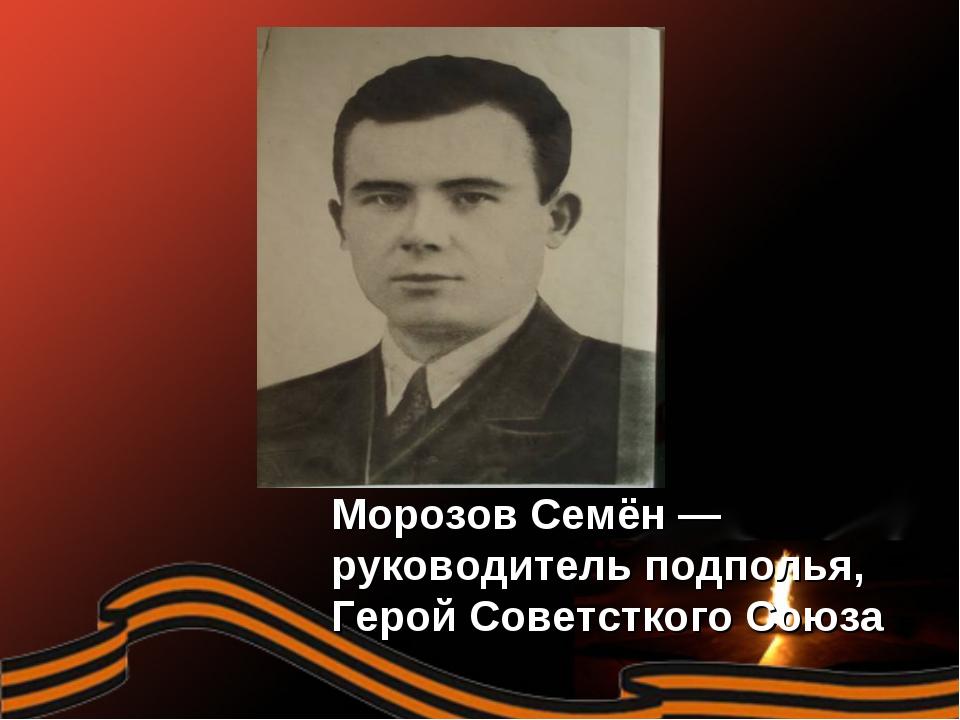 Морозов Семён — руководитель подполья, Герой Советсткого Союза