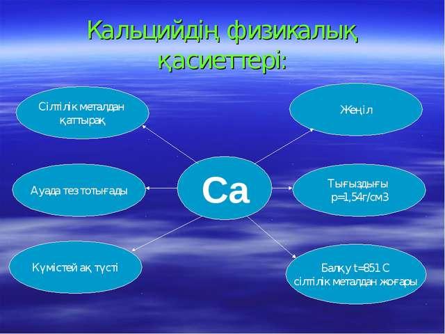Кальцийдің физикалық қасиеттері: Сілтілік металдан қаттырақ Ауада тез тотығад...