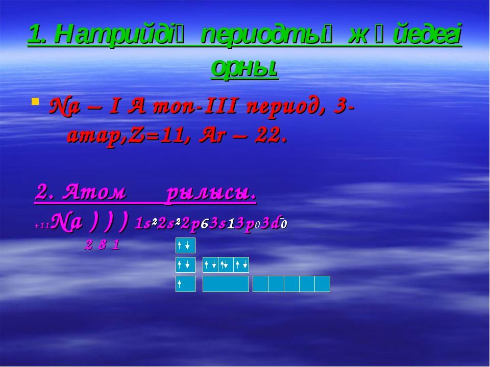 1. Натрийдің периодтық жүйедегі орны. Na – I A топ-III период, 3-қатар,Z=11,...