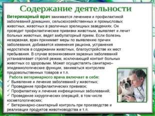 Ветеринарный врач занимается лечением и профилактикой заболеваний домашних, с