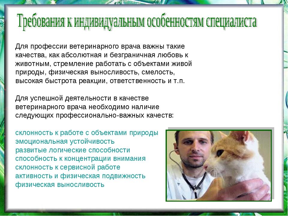 Для профессии ветеринарного врача важны такие качества, как абсолютная и безг...