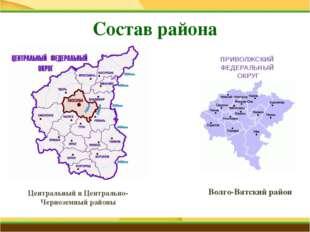 Состав района Центральный и Центрально-Черноземный районы Волго-Вятский райо
