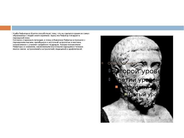 Учеба Пифагора в Египте способствует тому, что он сделался одним из самых об...