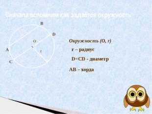 О Сначала вспомним как задаётся окружность Окружность (О, r) r – радиус r A