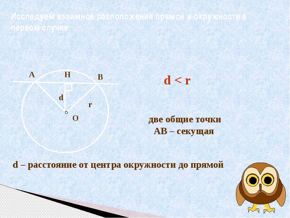 Исследуем взаимное расположение прямой и окружности в первом случае: d – расс...