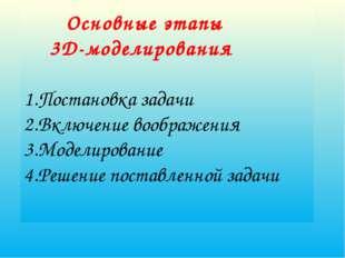 Основные этапы 3D-моделирования 1.Постановка задачи 2.Включение воображения