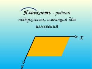 Плоскость - ровная поверхность, имеющая два измерения X y