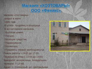 Магазин «ХОЗТОВАРЫ» ООО «Феникс». Магазин «Хозтовары» открыт в июне 1996 года