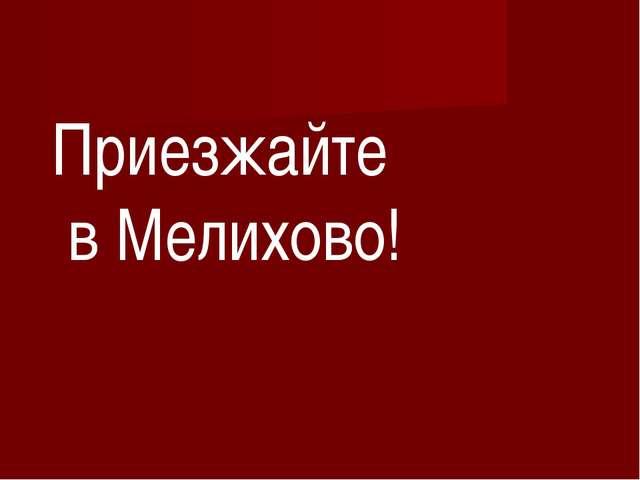 Приезжайте в Мелихово!