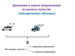 Движение в одном направлении из разных пунктов (одновременно, вдогонку) S VA