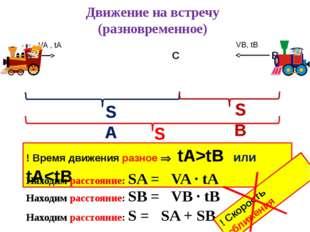 Движение на встречу (разновременное) SA VA , tA VB, tB SB S ! Время движения