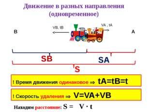 Движение в разных направления (одновременное) SA VA , tA VB, tB SB S ! Время