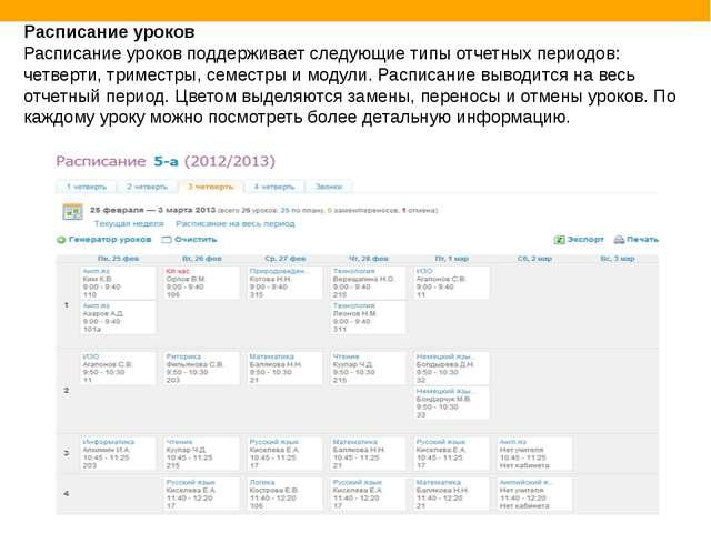 Расписание уроков Расписание уроков поддерживает следующие типы отчетных пери...