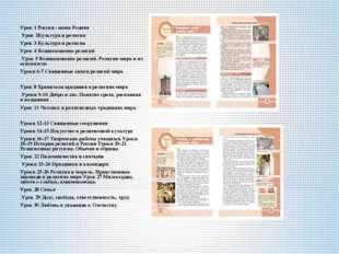 Урок 1 Россия - наша Родина Урок 2Культура и религия Урок 3 Культура и религ