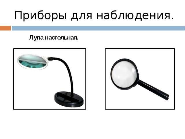 Приборы для наблюдения. Лупа настольная. Лупа ручная.