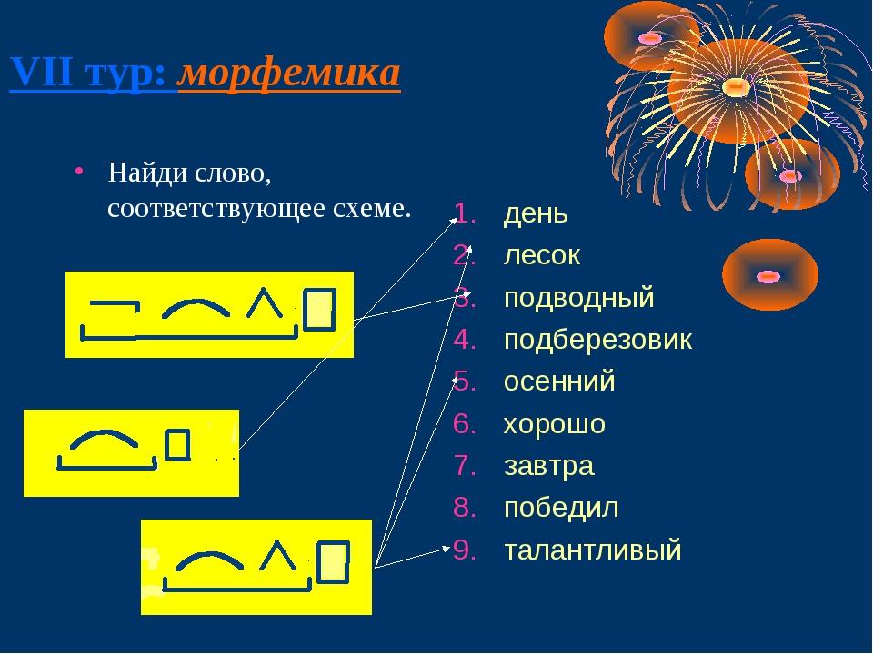 VII тур: морфемика Найди слово, соответствующее схеме. день лесок подводный п...