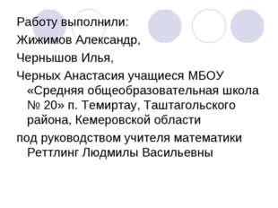 Работу выполнили: Жижимов Александр, Чернышов Илья, Черных Анастасия учащиеся