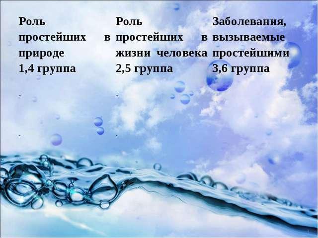 Роль простейших в природе 1,4 группаРоль простейших в жизни человека 2,5 гру...