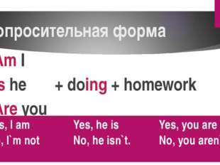 Вопросительная форма Am I Is he + doing + homework Are you Yes, I am No, I`mn