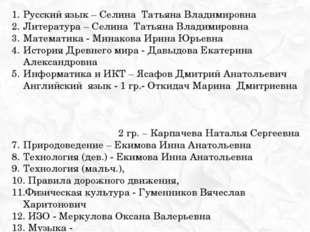 Русский язык – Селина Татьяна Владимировна Литература – Селина Татьяна Владим