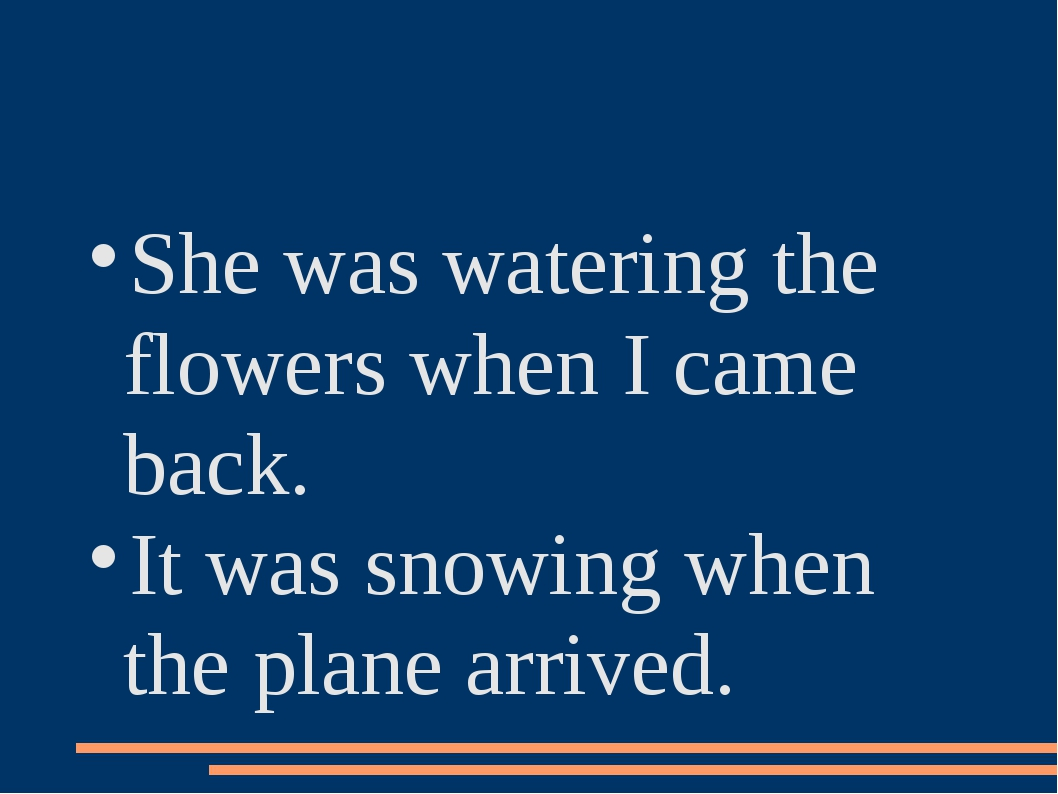 She was watering the flowers when I came back. It was snowing when the plane...