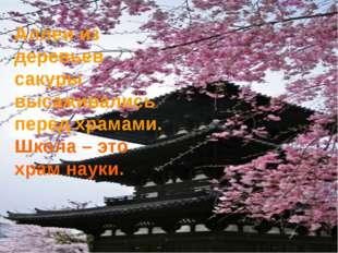 Аллеи из деревьев сакуры высаживались перед храмами. Школа – это храм науки.