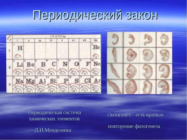Периодический закон Периодическая система химических элементов Д.И.Менделеева...