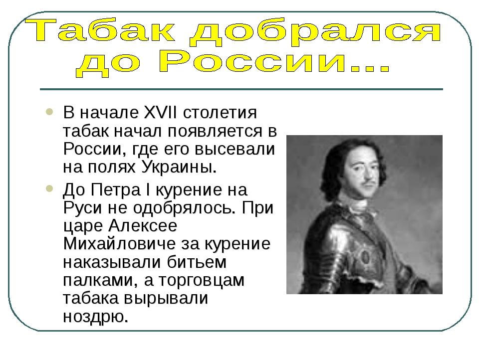 В начале XVII столетия табак начал появляется в России, где его высевали на п...