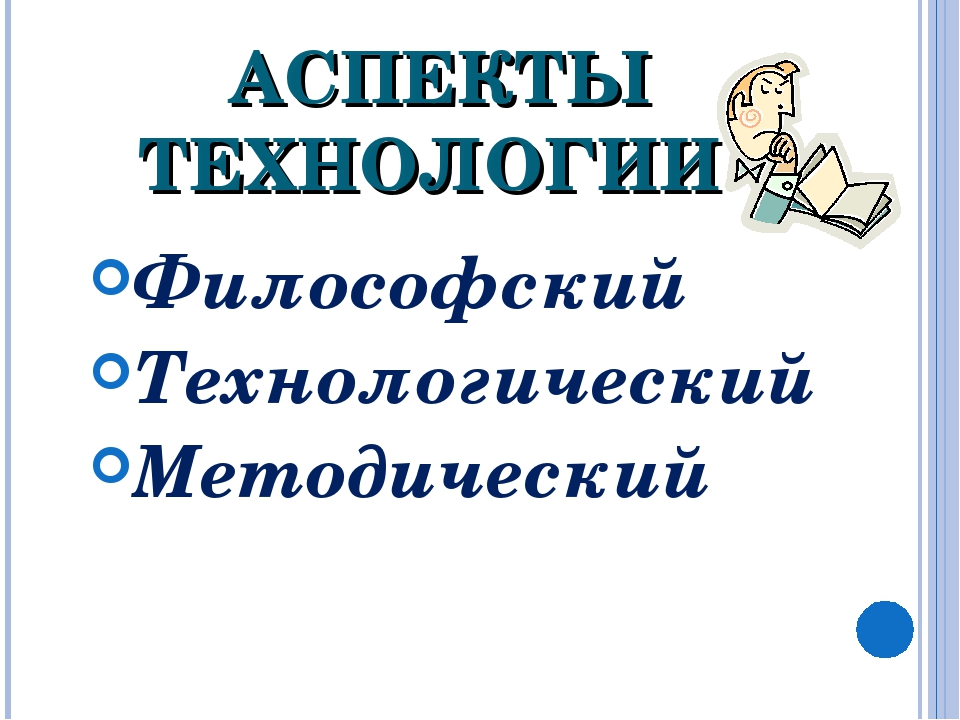 АСПЕКТЫ ТЕХНОЛОГИИ Философский Технологический Методический