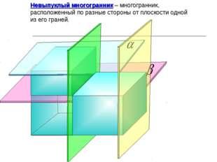 Невыпуклый многогранник – многогранник, расположенный по разные стороны от пл
