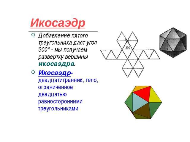 Икосаэдр Добавление пятого треугольника даст угол 300° - мы получаем развертк...