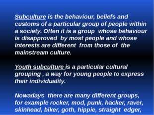 Subculture is the behaviour, beliefs and customs of a particular group of peo