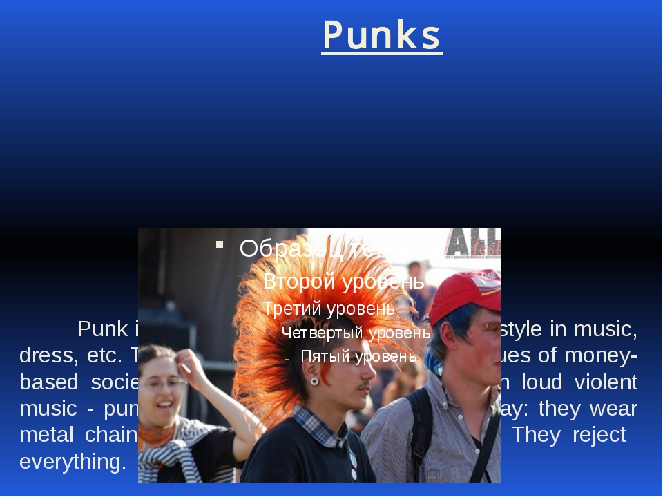 Punks Punk is a young person who follows punk style in music, dress, etc. Th...