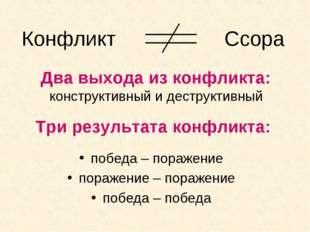 Три результата конфликта: победа – поражение поражение – поражение победа – п