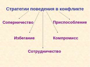 Стратегии поведения в конфликте Сотрудничество Соперничество Избегание Приспо