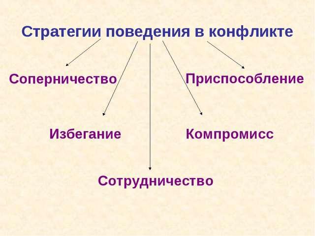 Стратегии поведения в конфликте Сотрудничество Соперничество Избегание Приспо...