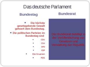 Das deutsche Parlament Bundestag Bundesrat Die höchste gesetzgebende Gewalt g