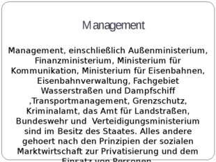 Management Management, einschließlich Außenministerium, Finanzministerium, Mi