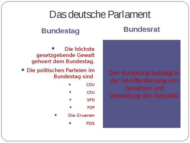 Das deutsche Parlament Bundestag Bundesrat Die höchste gesetzgebende Gewalt g...